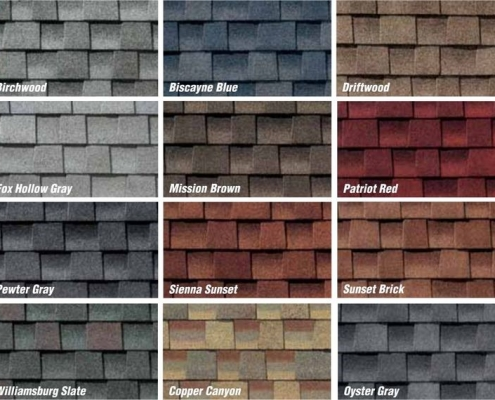 color roof shingles