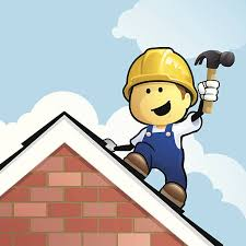 cartoon man on roof with hammer